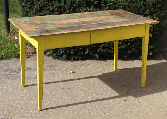 Griffiths antiques utica new york country farm table for Yellow farmhouse table