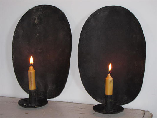 Tin Wall Sconces For Candles : Griffiths Antiques - Utica, New York - Pair of Tin Sconces